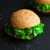 Homemade hamburger with fresh green lettuce, tomato and red onio Royalty Free Stock Image