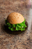 Homemade hamburger with fresh green lettuce, tomato and red onio Stock Image