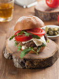 Homemade hamburger Stock Images