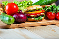 Homemade hamburger with fresh vegetables Stock Photography