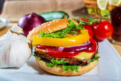 Homemade hamburger with fresh vegetables Royalty Free Stock Image