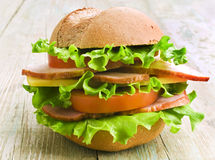 Homemade hamburger with fresh vegetables Stock Photo