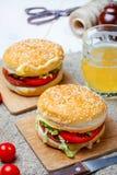 Homemade hamburger with fresh vegetables. Royalty Free Stock Photo