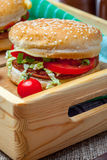 Homemade hamburger with fresh vegetables. Royalty Free Stock Images