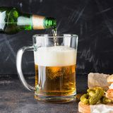 Chiken burgers and bottles of Beer. royalty free stock image