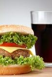 Homemade Hamburger with soda Stock Photos