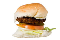 Homemade hamburger on a white backround Royalty Free Stock Photo