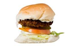 Homemade hamburger on a white backround. Homemade hamburger - white roll, meat Royalty Free Stock Photo