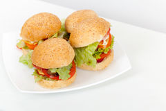 Homemade hamburgers lay on white plate Royalty Free Stock Photos