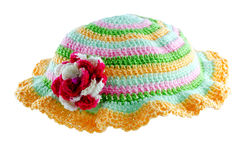 Homemade Hat. Made of multi-colored yarn Stock Photos