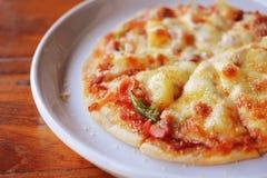 Homemade hawaiian pizza Royalty Free Stock Photography