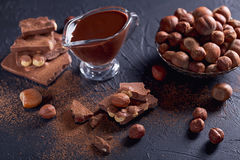 Homemade hazelnut spread or hot chocolate in glass bowl with nut Stock Photo