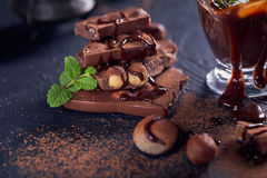 Homemade hazelnut spread or hot chocolate in glass bowl with nut Stock Image