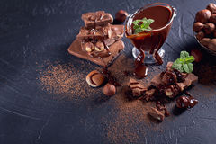 Homemade hazelnut spread or hot chocolate in glass bowl with nut Royalty Free Stock Photography
