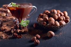Homemade hazelnut spread or hot chocolate in glass bowl with nut Royalty Free Stock Image