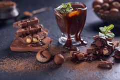 Homemade hazelnut spread or hot chocolate in glass bowl with nut Royalty Free Stock Photo