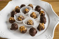 Homemade healthy chocolate truffles Royalty Free Stock Images