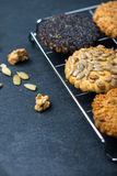 Homemade healthy cookie with seeds on cooling tray Royalty Free Stock Image