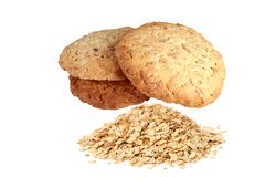Homemade cookies biscuits, with Muesli oat flakes isolated on wh Royalty Free Stock Photo