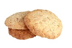 Homemade cookies biscuits, with oat flakes isolated on white bac Stock Images