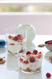 Homemade healthy dessert in a glass with yogurt, fresh fruits and cookies for breakfast. Closeup Royalty Free Stock Photography