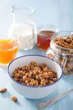 Homemade healthy granola in bowl for breakfast Royalty Free Stock Images