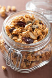 Homemade healthy granola in glass jar Royalty Free Stock Photos
