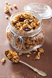 Homemade healthy granola in glass jar Stock Photos