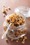 Homemade healthy granola in glass jar Stock Photography