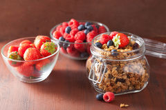 Homemade healthy granola in glass jar and berries Stock Images