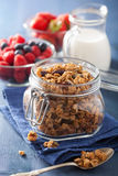 Homemade healthy granola in glass jar and berries Stock Image