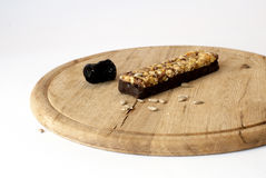 Homemade healthy muesly snack on wooden board stock photo