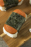 Homemade Healthy Musubi Rice and Meat Sandwich Stock Image