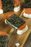 Homemade Healthy Musubi Rice and Meat Sandwich. From Hawaii Stock Photo