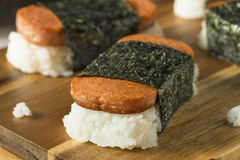 Homemade Healthy Musubi Rice and Meat Sandwich. From Hawaii Stock Image