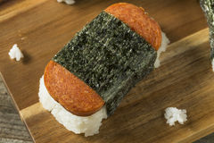 Homemade Healthy Musubi Rice and Meat Sandwich Stock Photo