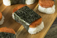 Homemade Healthy Musubi Rice and Meat Sandwich Stock Images