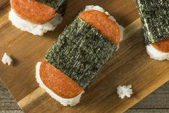 Homemade Healthy Musubi Rice and Meat Sandwich Stock Photography