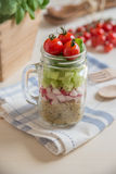 Homemade healthy salads with quinoa in jar Stock Images
