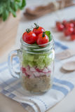 Homemade healthy salads with quinoa in jar Royalty Free Stock Photography