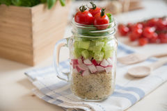 Homemade healthy salads with quinoa in jar Royalty Free Stock Images