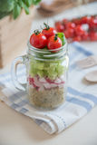 Homemade healthy salads with quinoa in jar Royalty Free Stock Photo