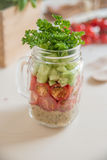 Homemade healthy salads with quinoa in jar Royalty Free Stock Image