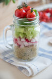 Homemade healthy salads with quinoa in jar Stock Photography