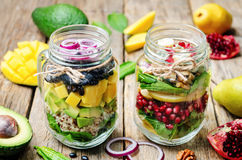 Homemade healthy salads with vegetables, fruits, beans and quinoa Royalty Free Stock Photos