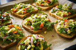 Homemade healthy sandwiches with salmon and avocado Royalty Free Stock Images