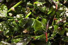 Homemade Healthy Sauteed Swiss Chard. With Garlic and Cheese royalty free stock photography