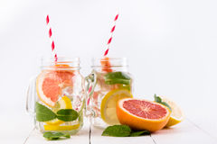 Homemade healthy smoothie with grapefruit and lemon in jar. Stock Images