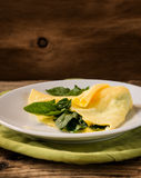 Homemade healthy spinach omelette on rural table Royalty Free Stock Image