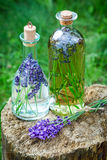 Homemade healthy tincture of lavender on old stump Stock Images
